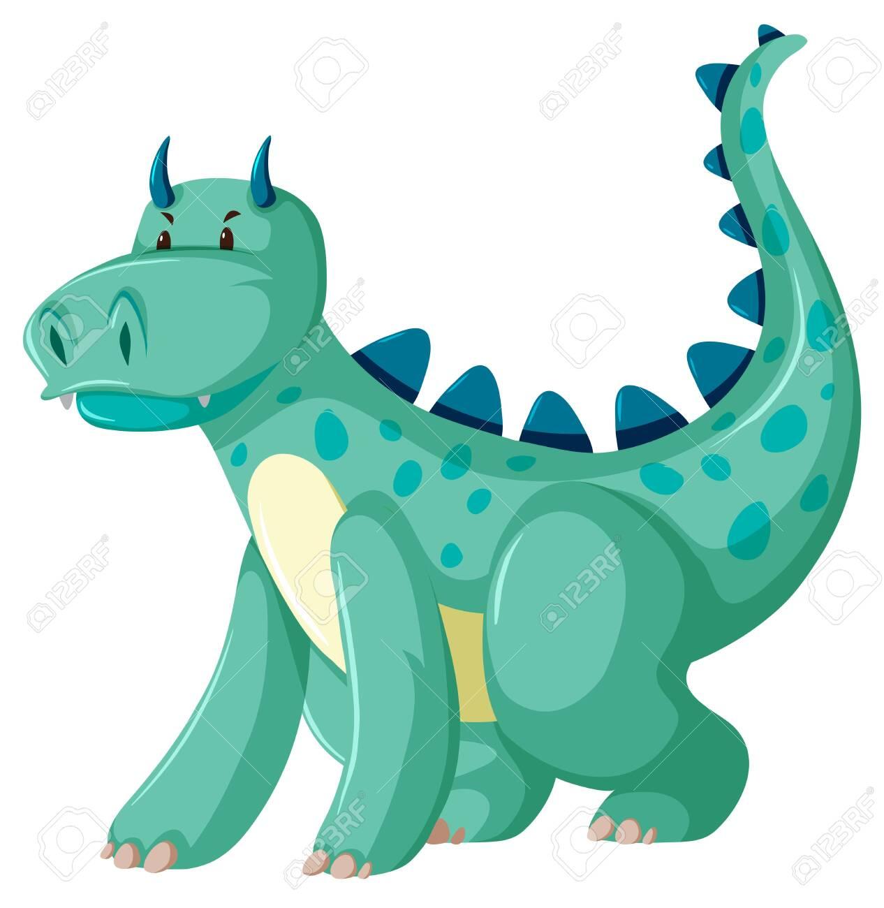 A green dragon character illustration - 124283448