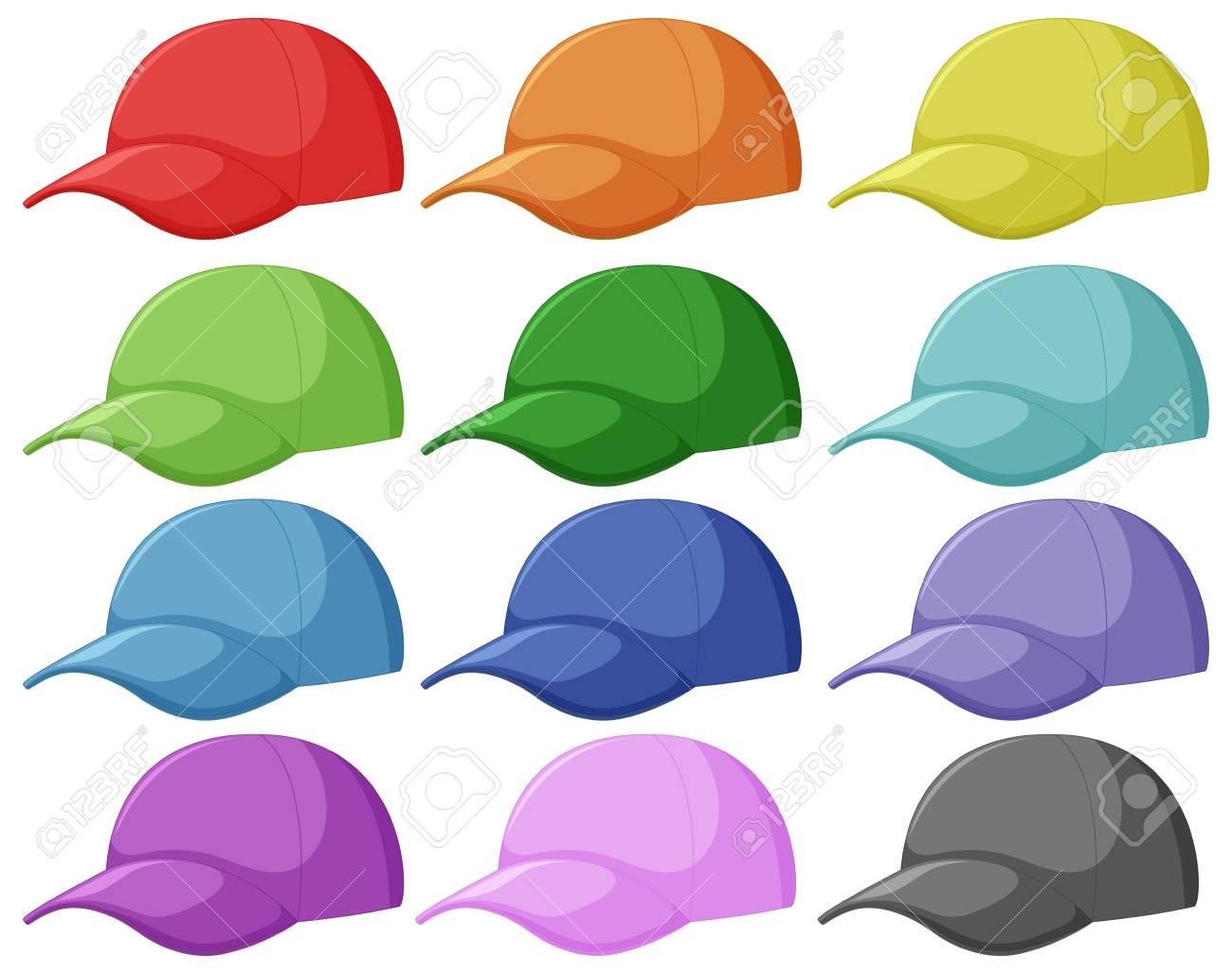 Set of different cap illustration - 123562975