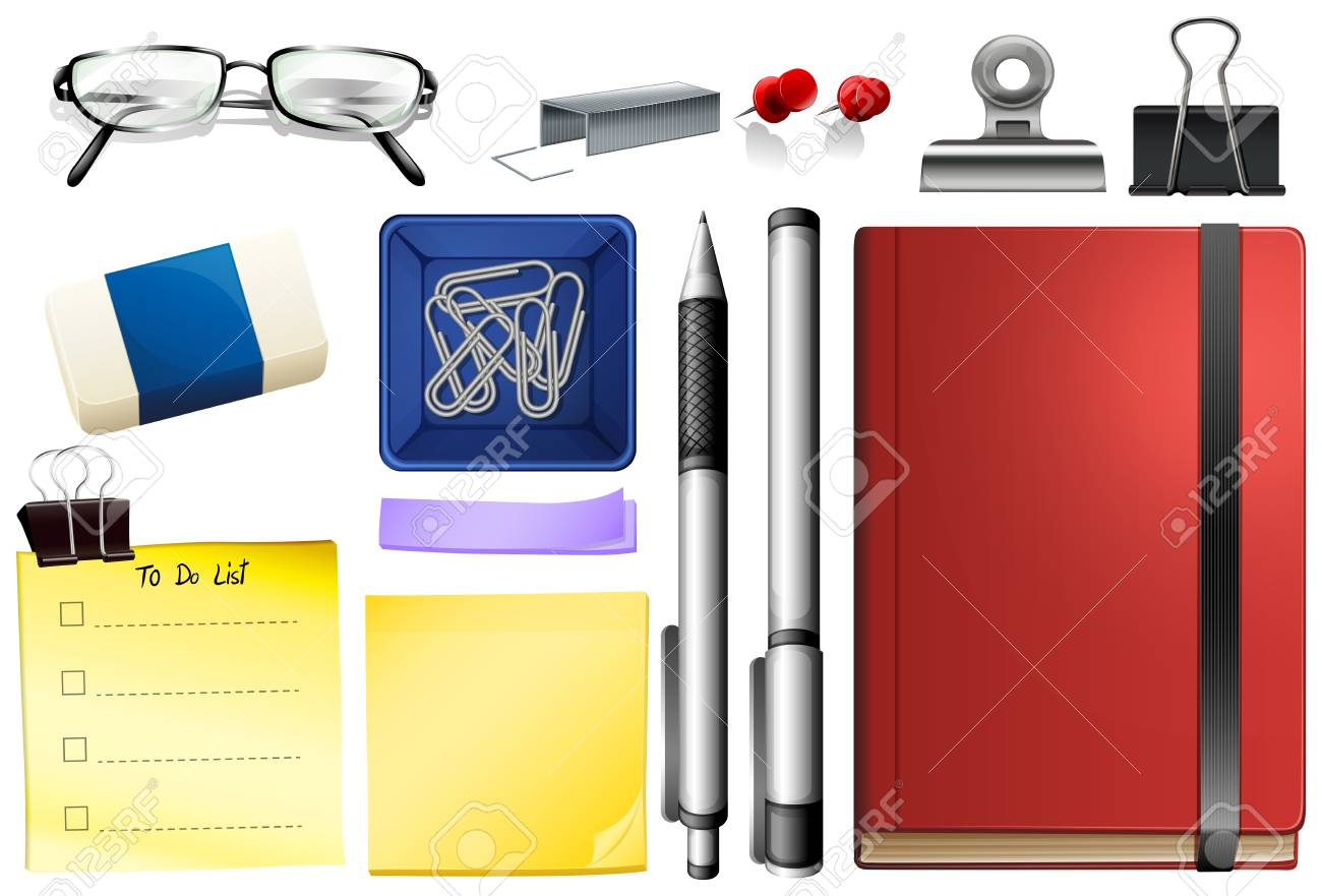 Set of stationary object illustration - 121294945