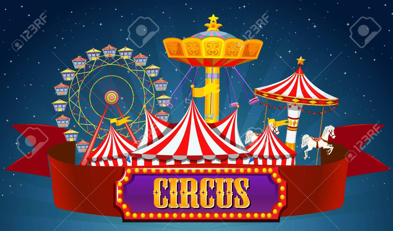 A circus banner on sky illustration - 124143301