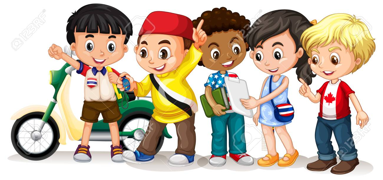Happy children in different actions illustration - 128756168