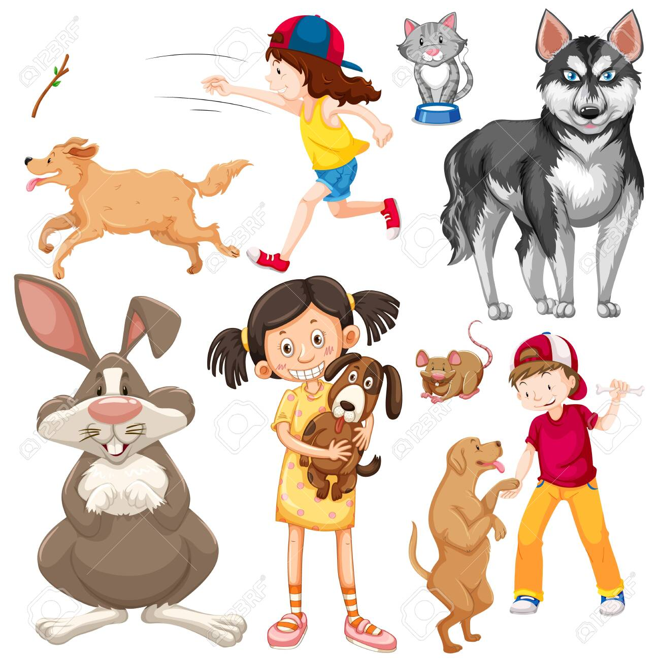 Children with animals on isolated background illustration - 129979027