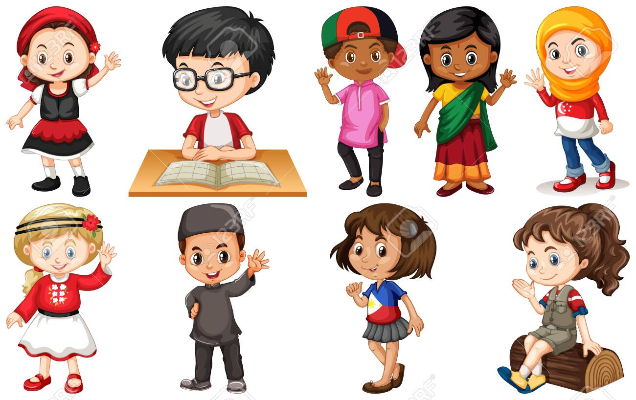 Set of children from different countries illustration - 133640810