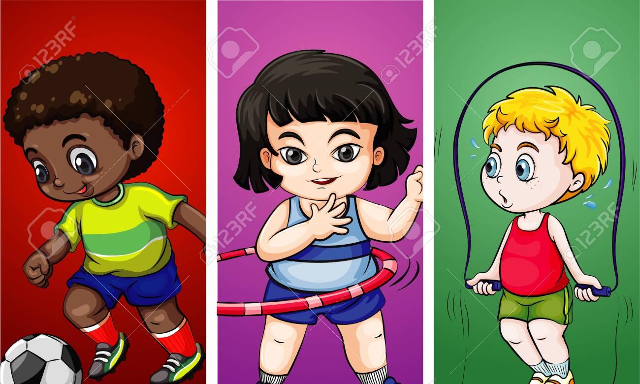 Three children doing different sports illustration - 134511520