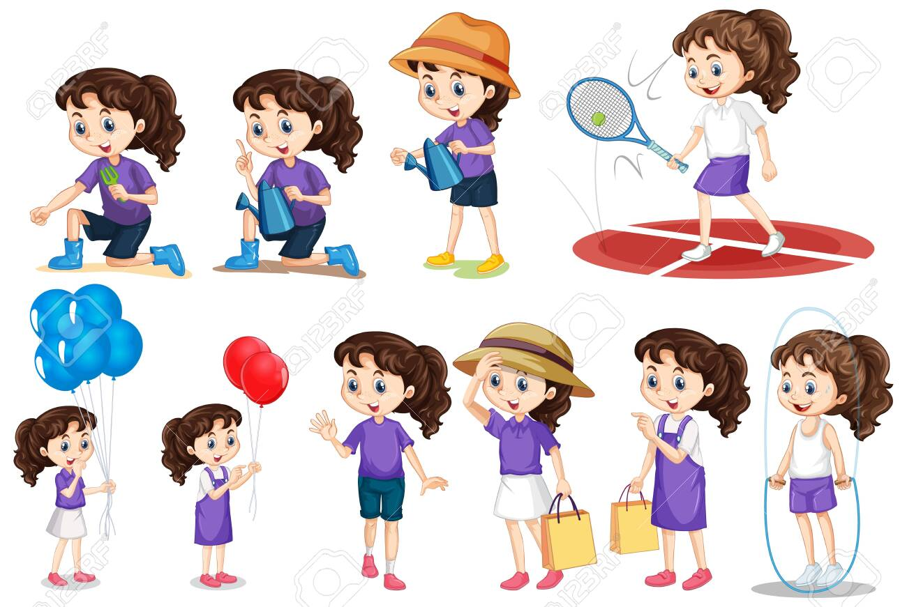 Set of girl doing different activities on isolated background illustration - 136470102