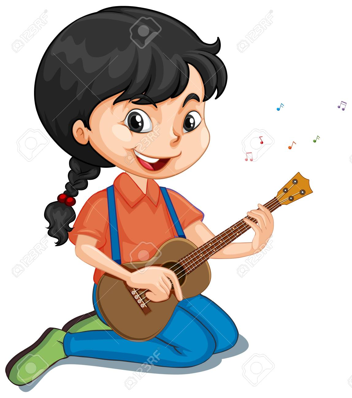 Girl playing guitar on isolated background illustration - 137360531