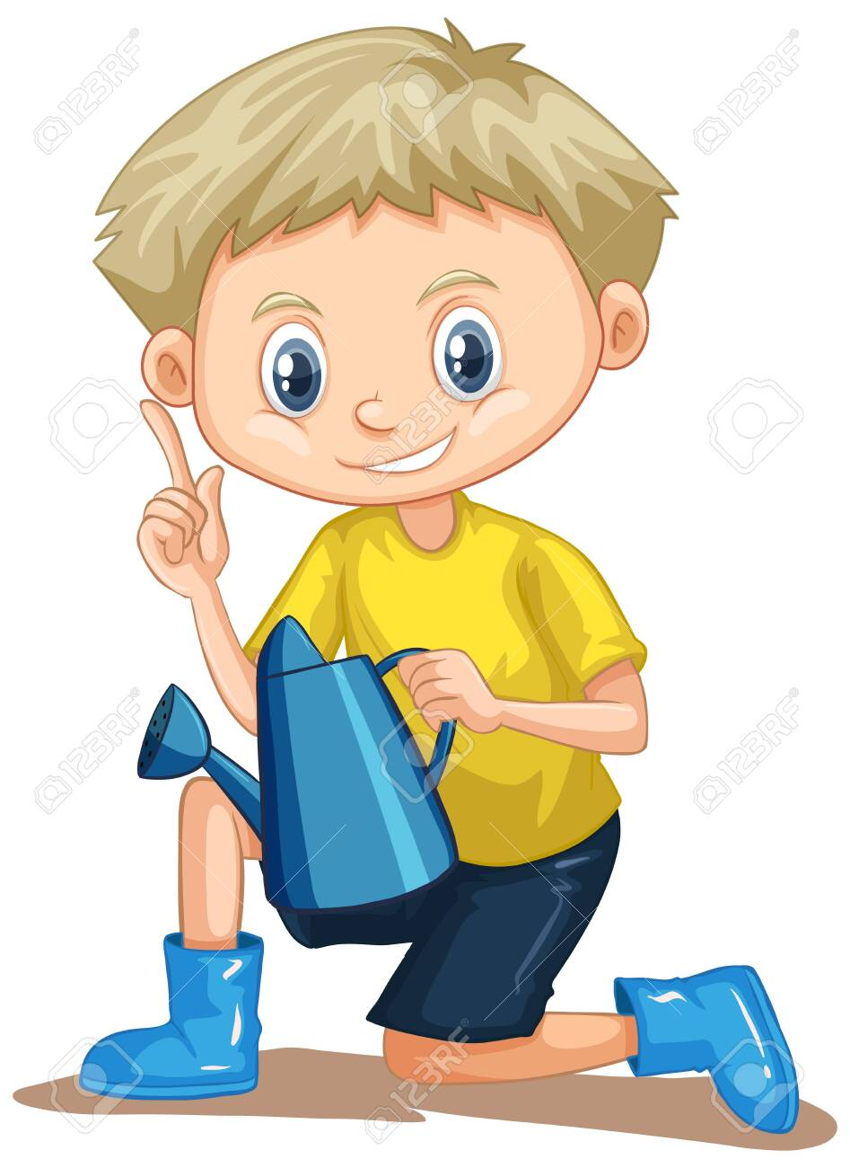 Boy in yellow shirt with watering can illustration - 142205629