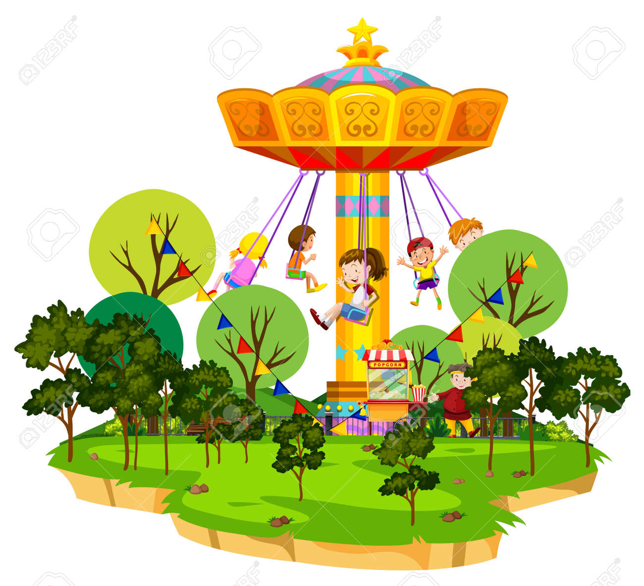 Scene with many kids riding on giant swing in the park illustration - 145994930
