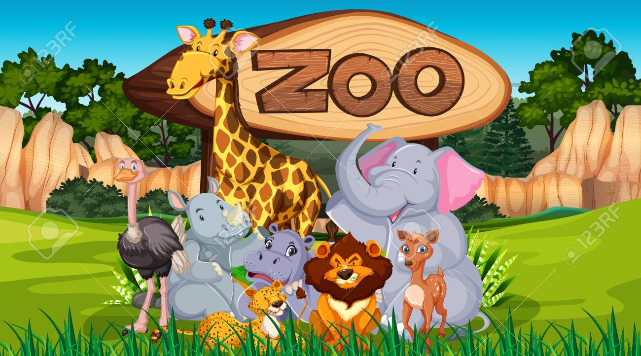 Zoo Animals In The Wild Nature Background Illustration Royalty Free  Cliparts, Vectors, And Stock Illustration. Image 148353621.