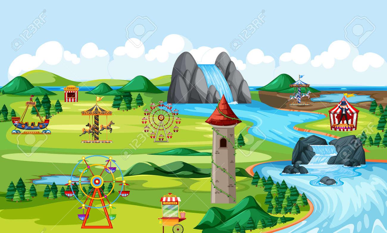 Theme amusement natural park landscape scene and many rides landscape scene illustration - 153813623