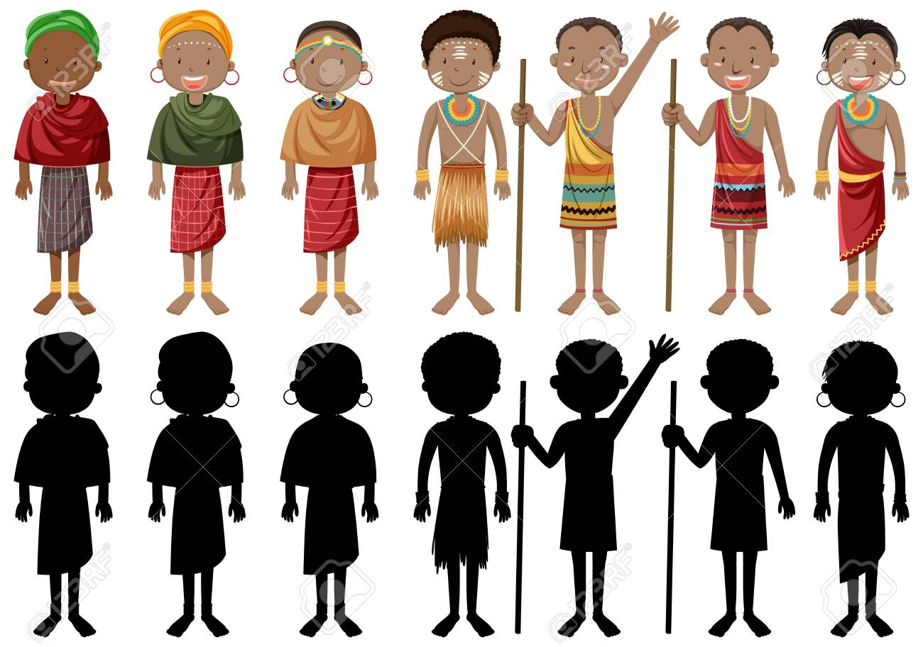 Ethnic people of African tribes in traditional clothing illustration - 153809993