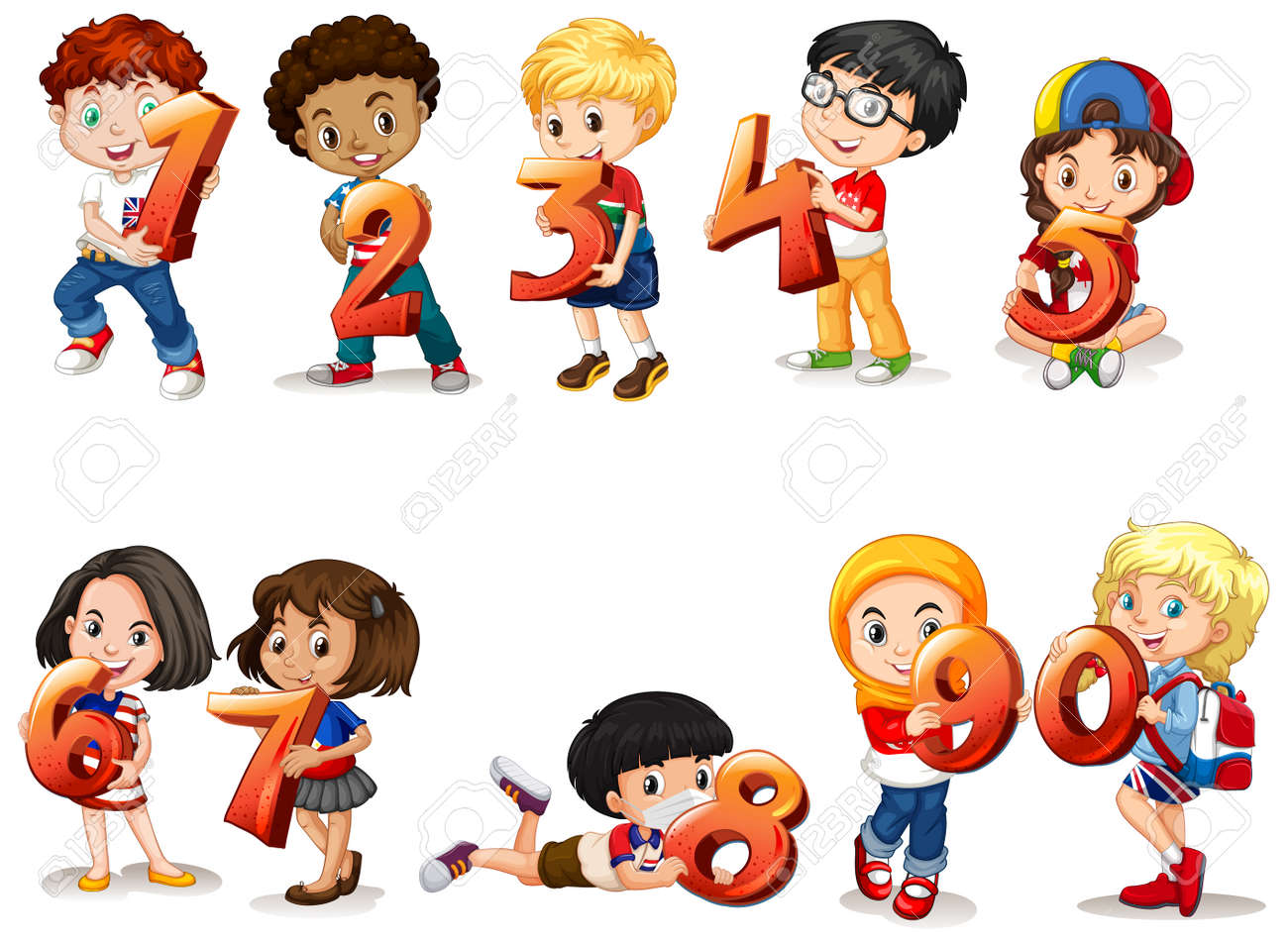 Set of different children holding math number illustration - 153809875
