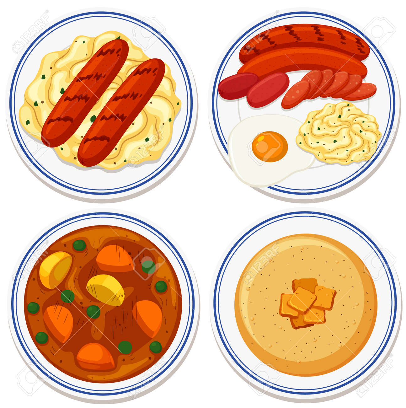 Aerial view of food on plate illustration - 154507476