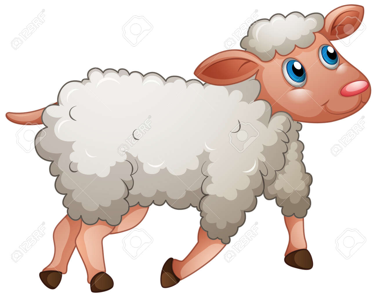 A cute sheep on white background illustration - 159290712