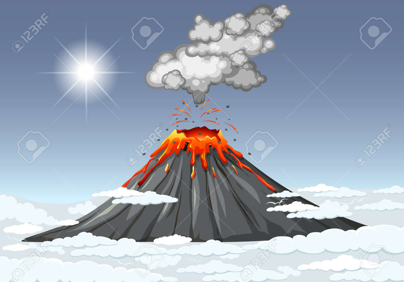 Volcano eruption in the sky with clouds scene at daytime illustration - 159378982