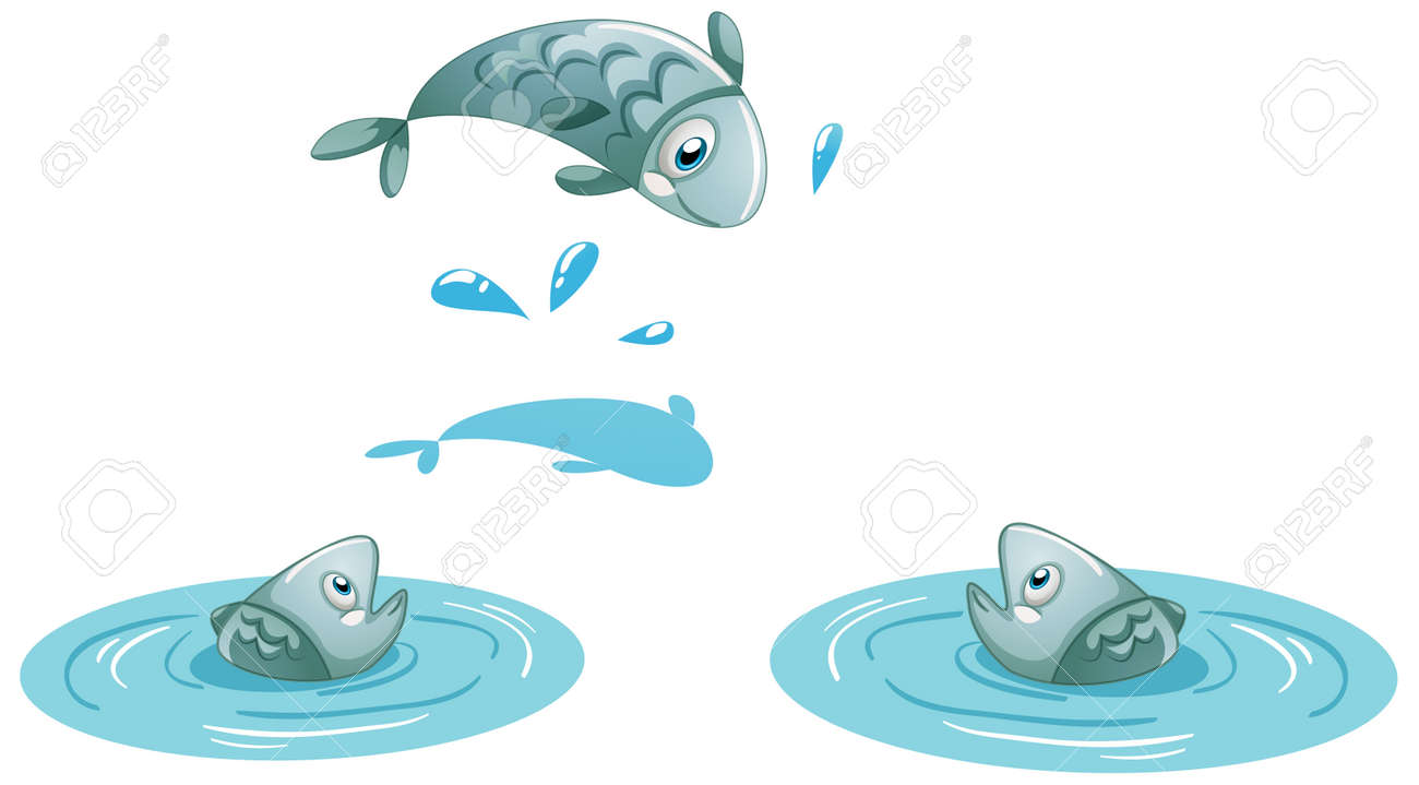 Three fish in the water isolated on white background illustration - 160362014