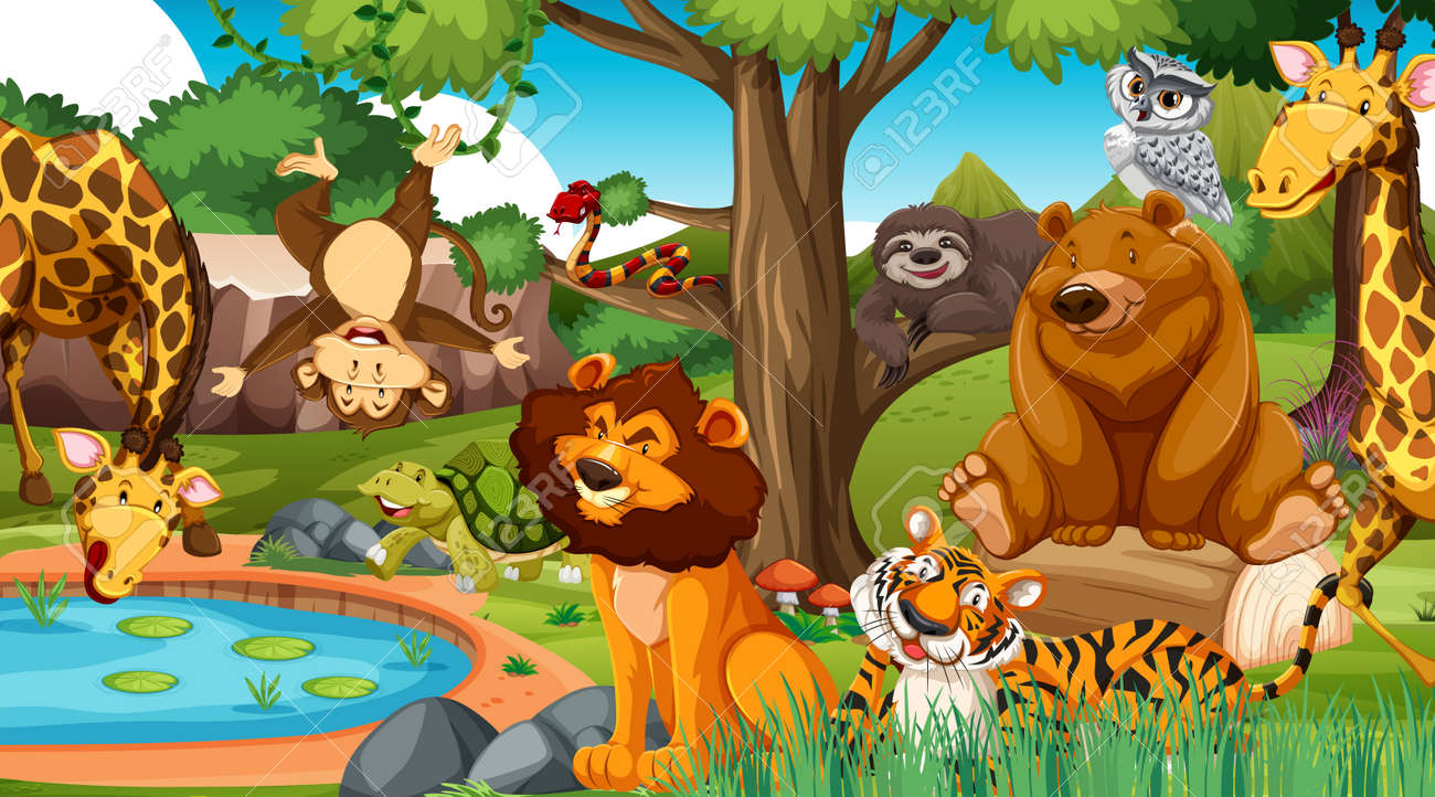 Wild animals in the jungle illustration - 165873393