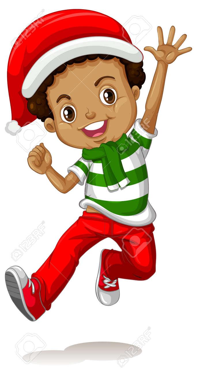 Cute boy wearing Christmas costumes cartoon character illustration - 165873354