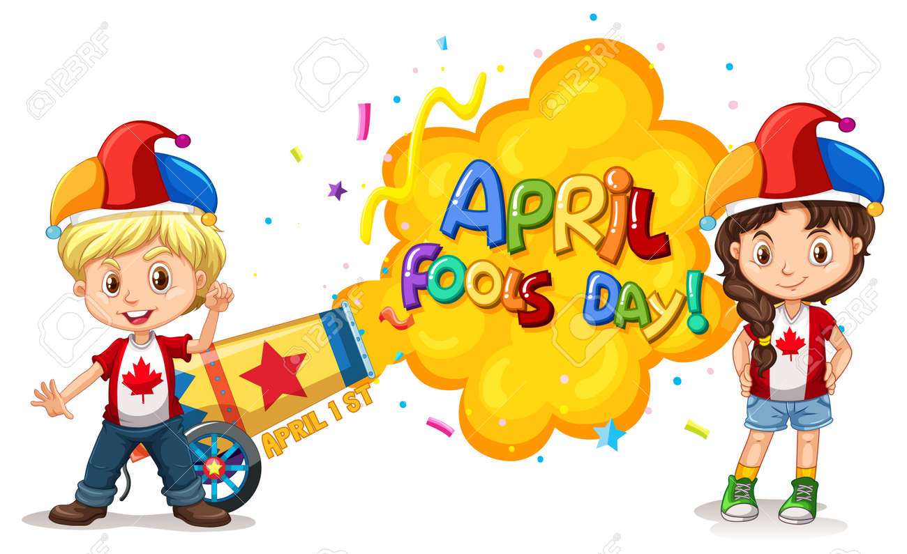 April Fool's Day font icon with children wearing jester hat illustration - 166422573