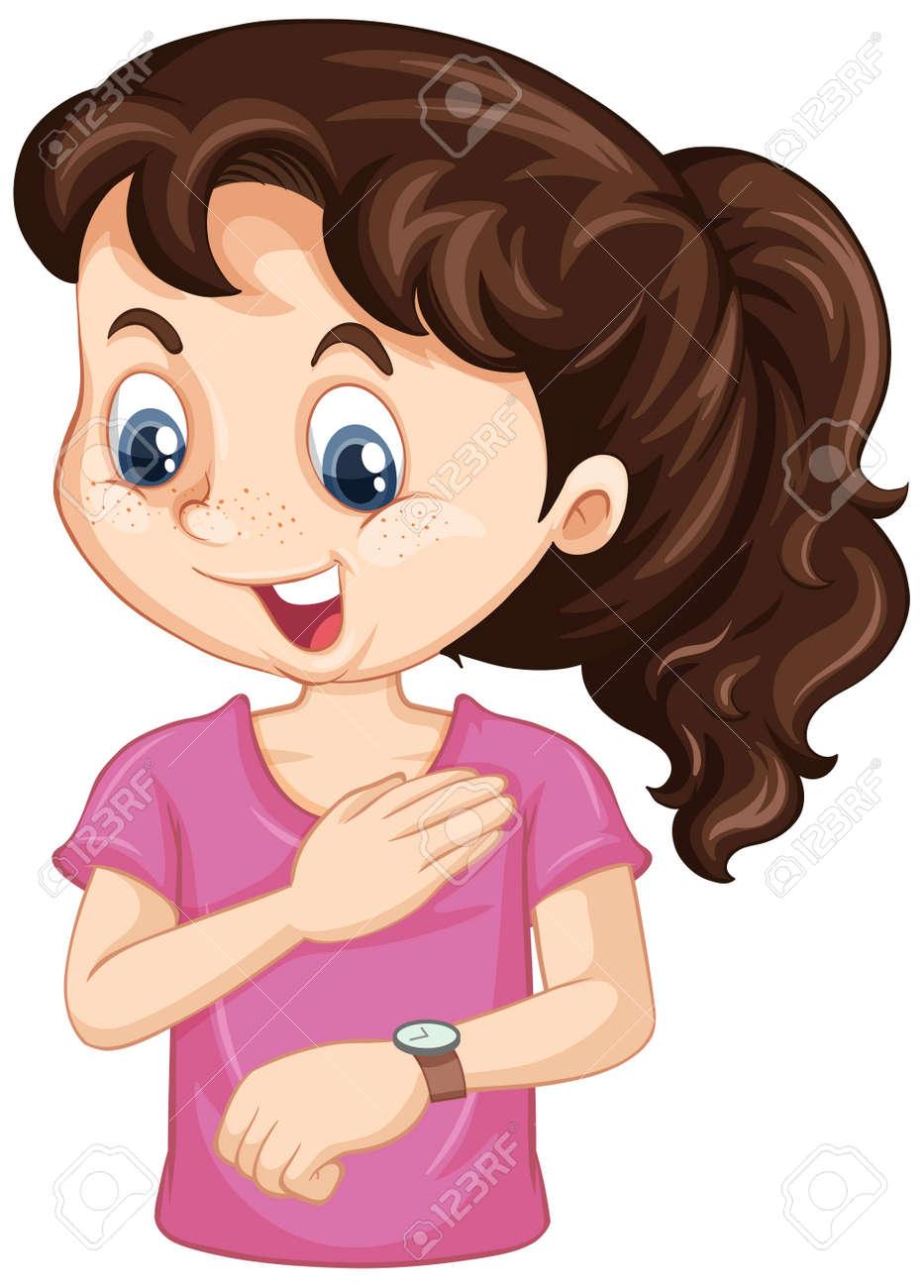 Girl cartoon character looking at wrist watch illustration - 167725983