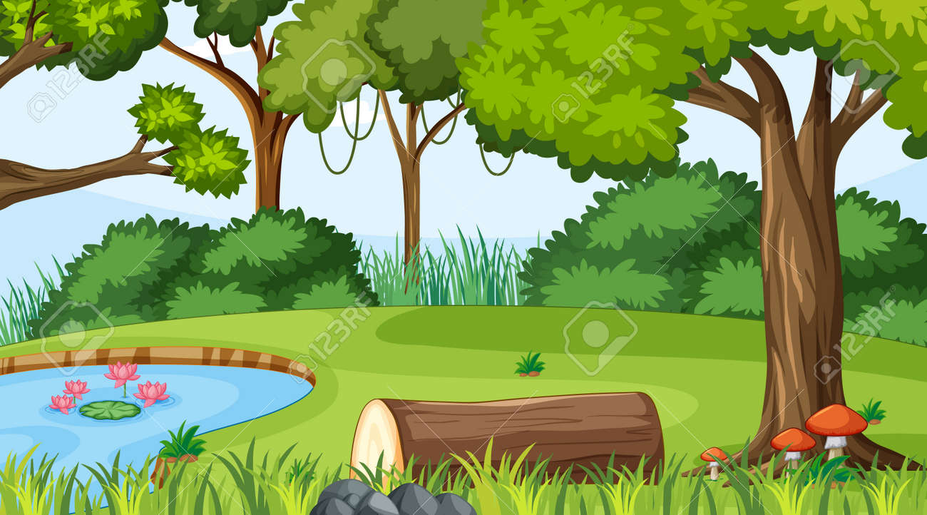 Forest landscape scene at day time with pond and many trees illustration - 168015514