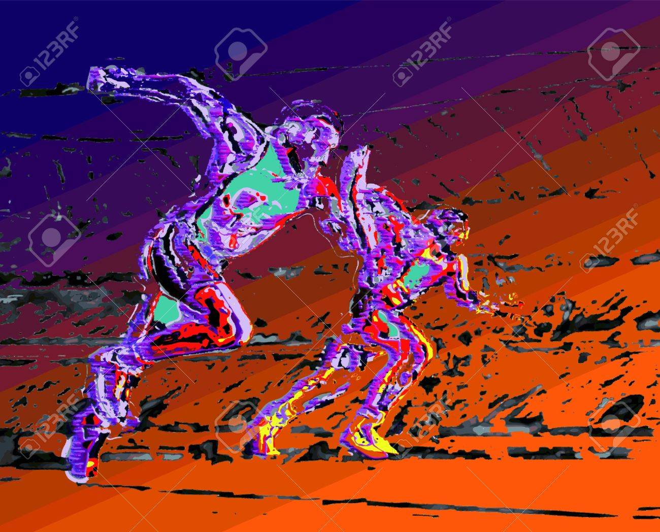 Two riders in full effort on gradient background abstract Stock Vector - 14033889