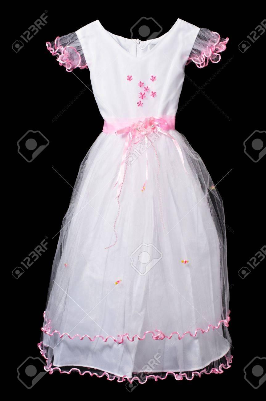 White And Pink Flower Girl Wedding Dress On Black Background Stock