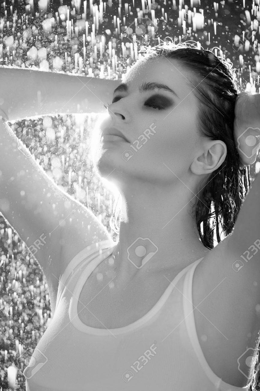 wet beauty black and white image of beautiful young women standing