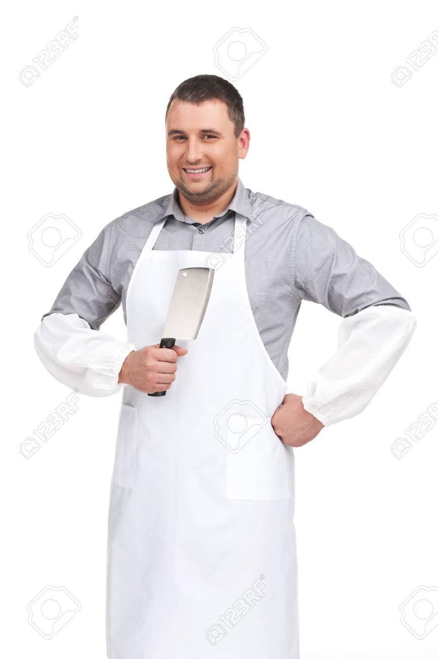White apron ro - White Apron Apuesto Carnicero Sonriendo Y Sosteniendo Un Cuchillo Hombre Con Delantal De Pie