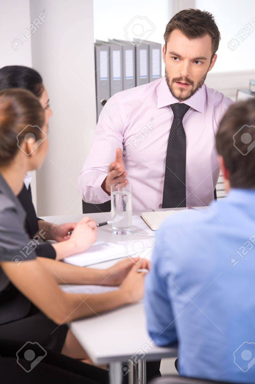Group of young business people talking on business meeting. business man and woman working on meeting in office - 33247618