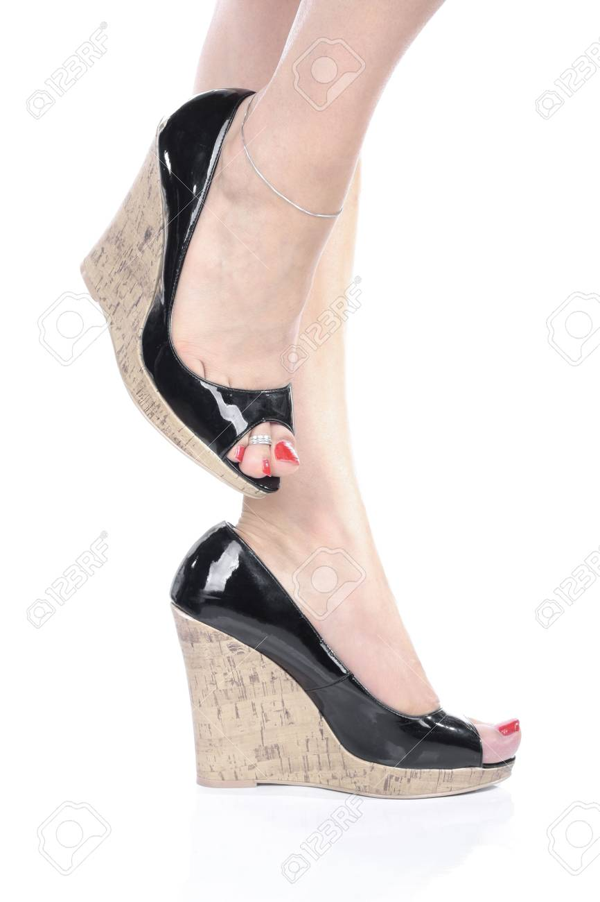 Woman Legs with black  high heels over white Stock Photo - 6176029