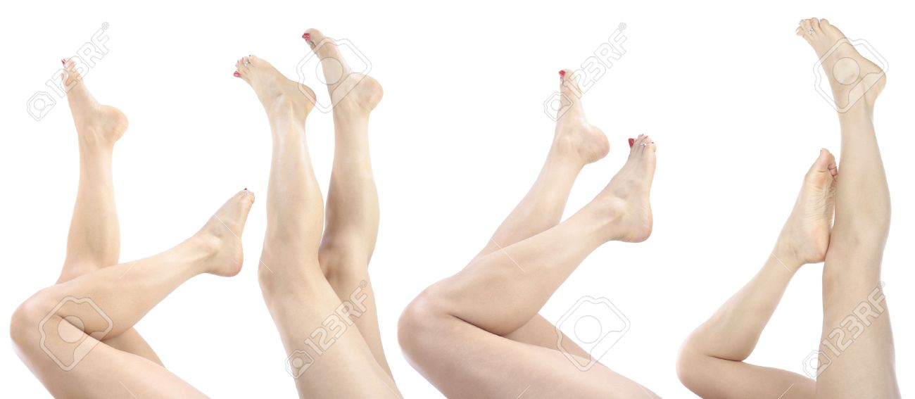 Beautiful Woman Legs And Feet Isolated Over White Stock Photo ...