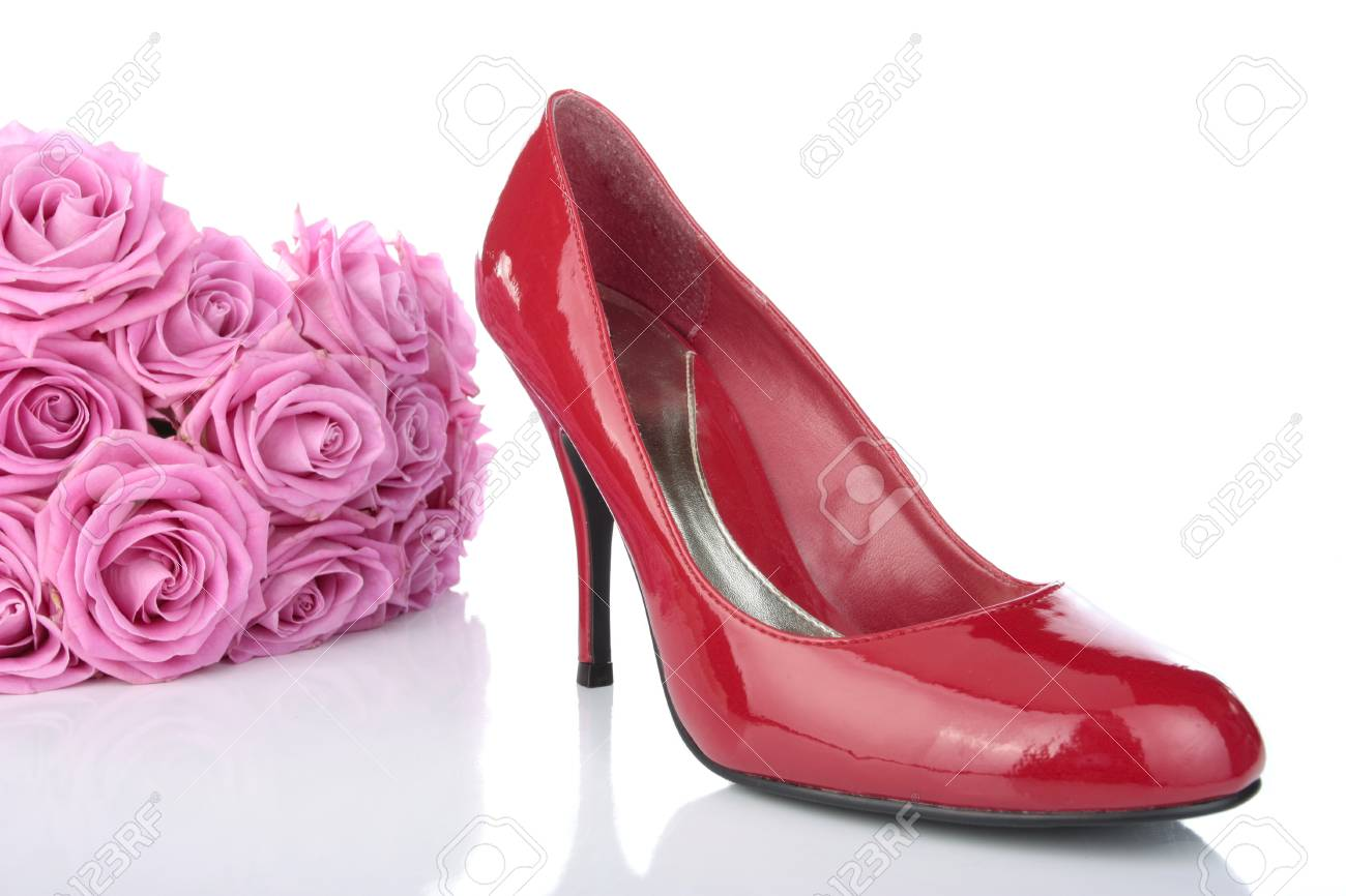 Red woman shoes over white background Stock Photo - 8937809