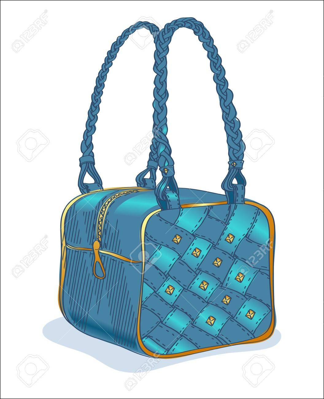 Sketch of a denim blue handbag Stock Vector - 12835378