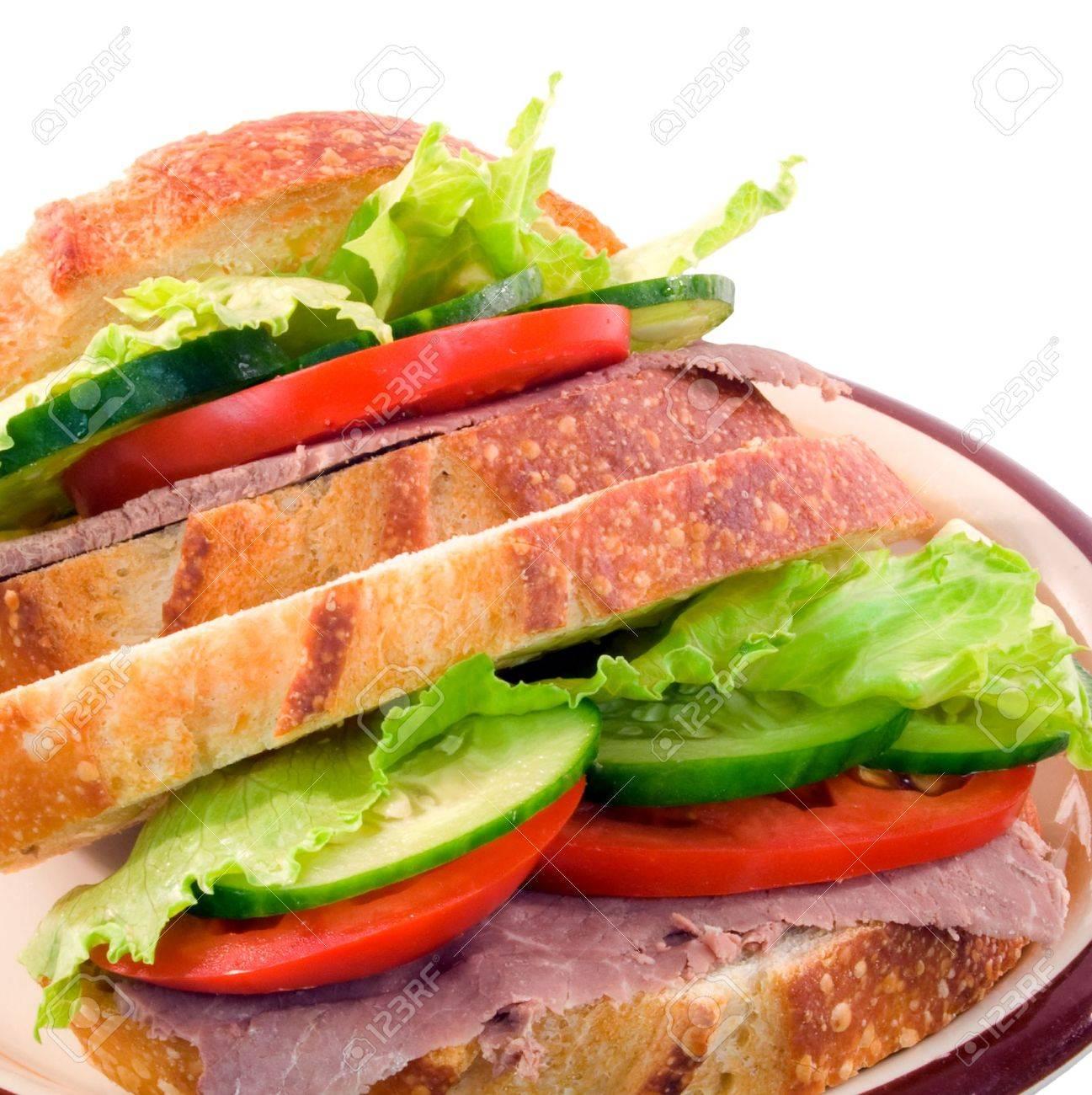 Salad sandwich on sourdough bread on white background Stock Photo - 2779956