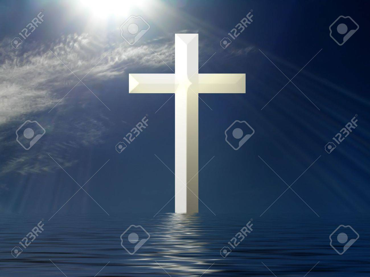 Holy Cross with suns rays and water reflection Stock Photo - 3410509