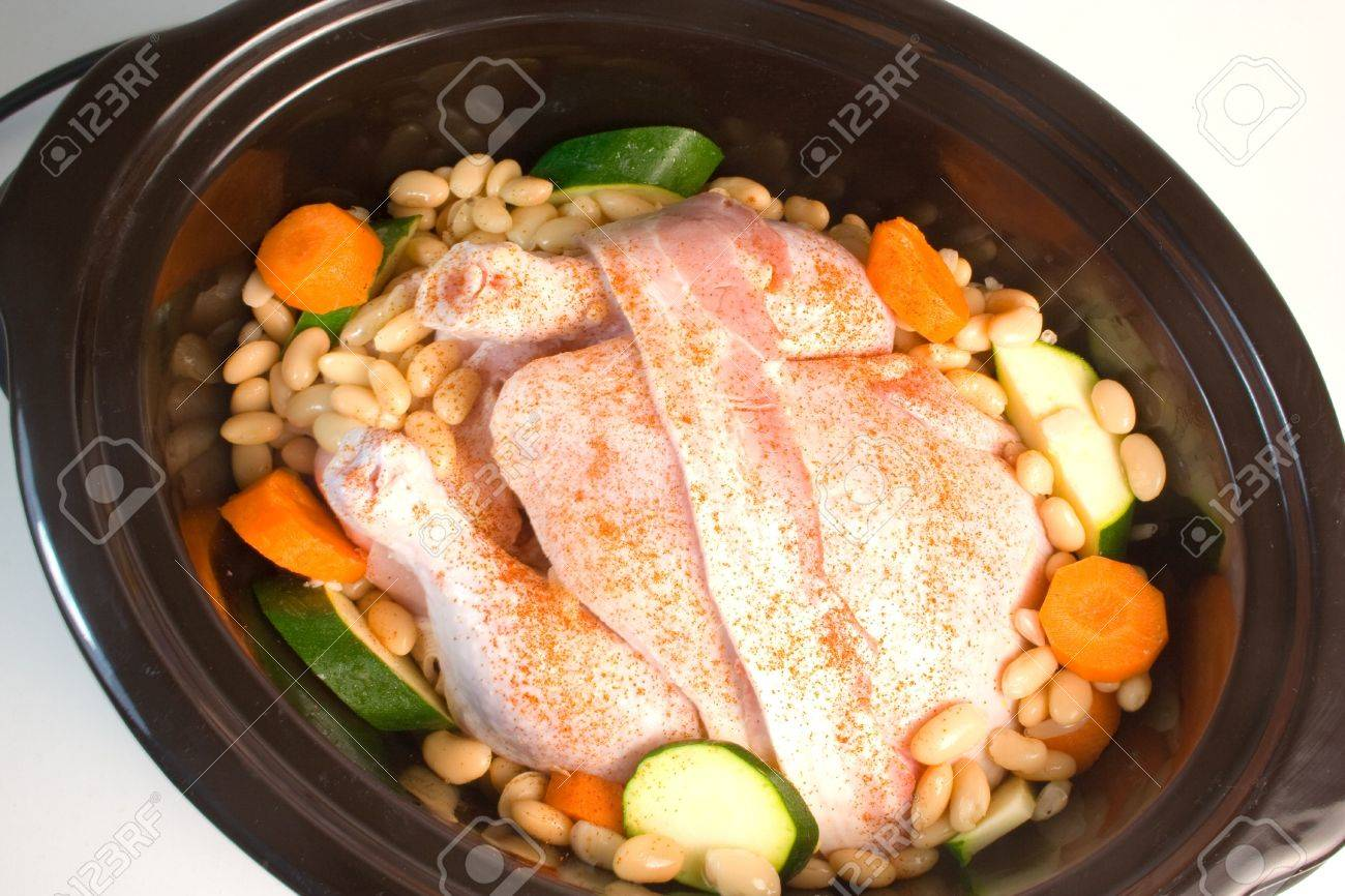 Fresh chicken prepared for cooking in a slow cooker. Stock Photo - 3426652
