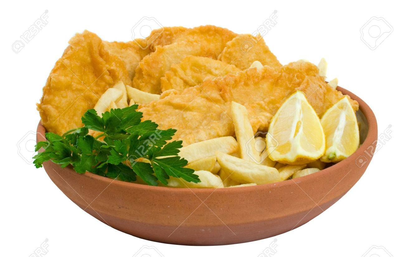 Fish, chips and potato cakes isolated over white background Stock Photo - 3691287