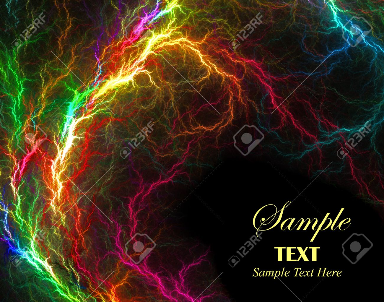 Beautiful vibrant multi-colored lightening over black background with copy space. Stock Photo - 4372092