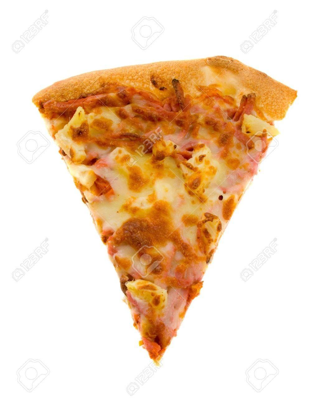 Single slice of Hawaiian Pizza isolated over white background. Stock Photo - 4741517