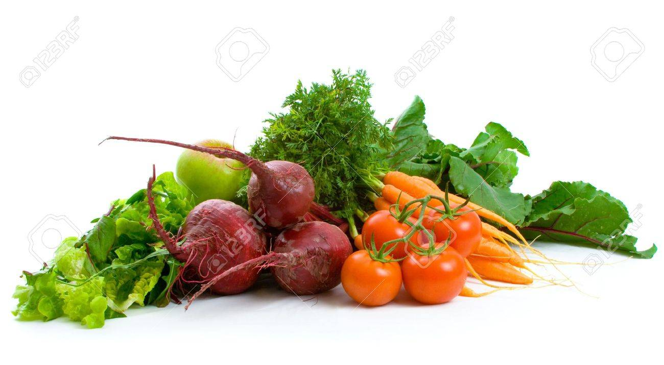 Fresh Beetroot, carrots, tomatoes, lettuce isolated over white background. Stock Photo - 4852829
