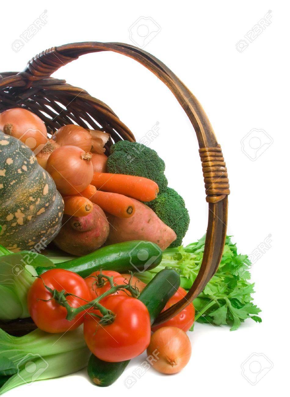 Basket of market fresh vegetables over white background Stock Photo - 5139325