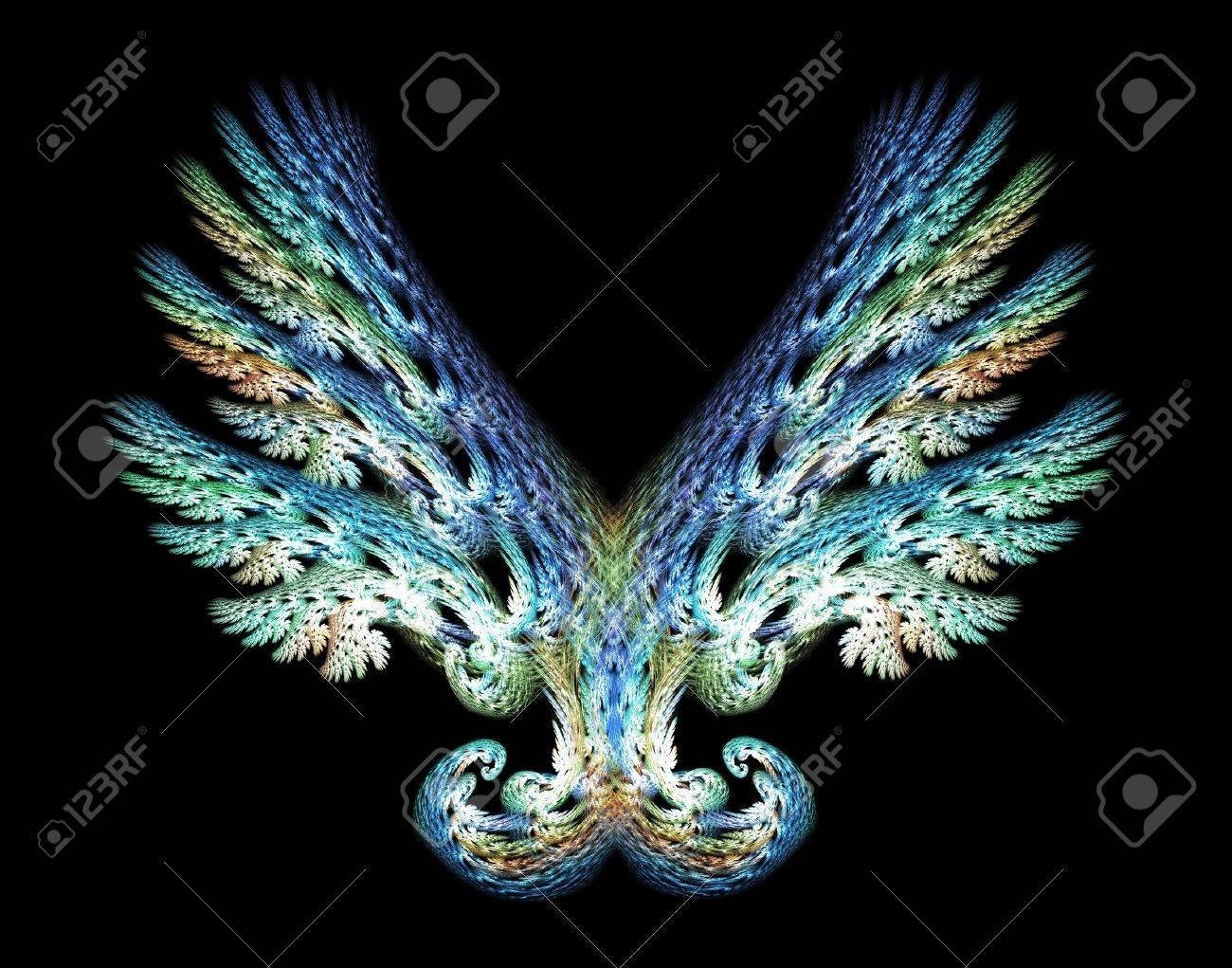 Blue Green Angel wings fractal emblem over black background. Stock Photo - 5150106