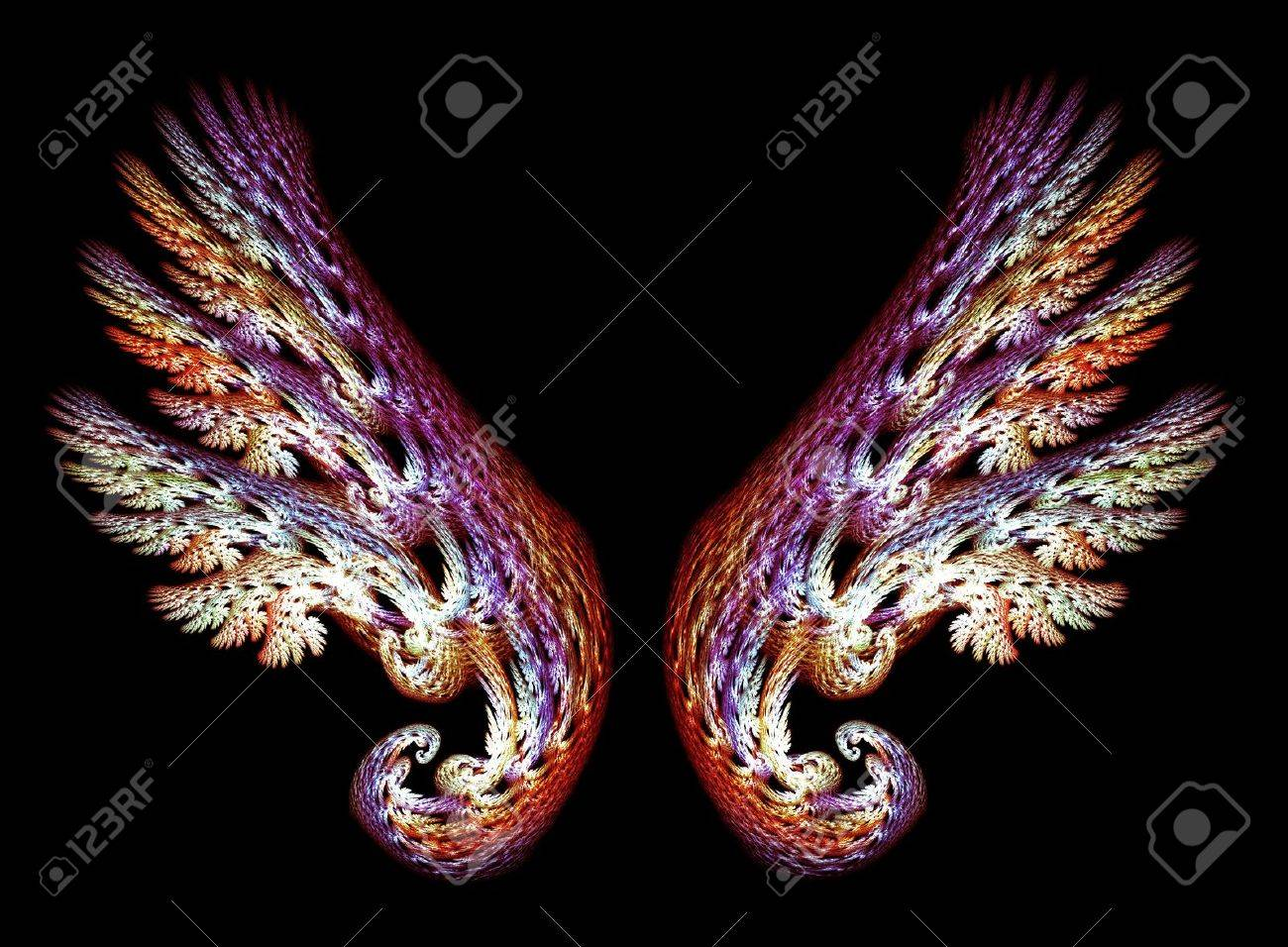 Two Angel Wings in purple and gold tones over black background Stock Photo - 5150105