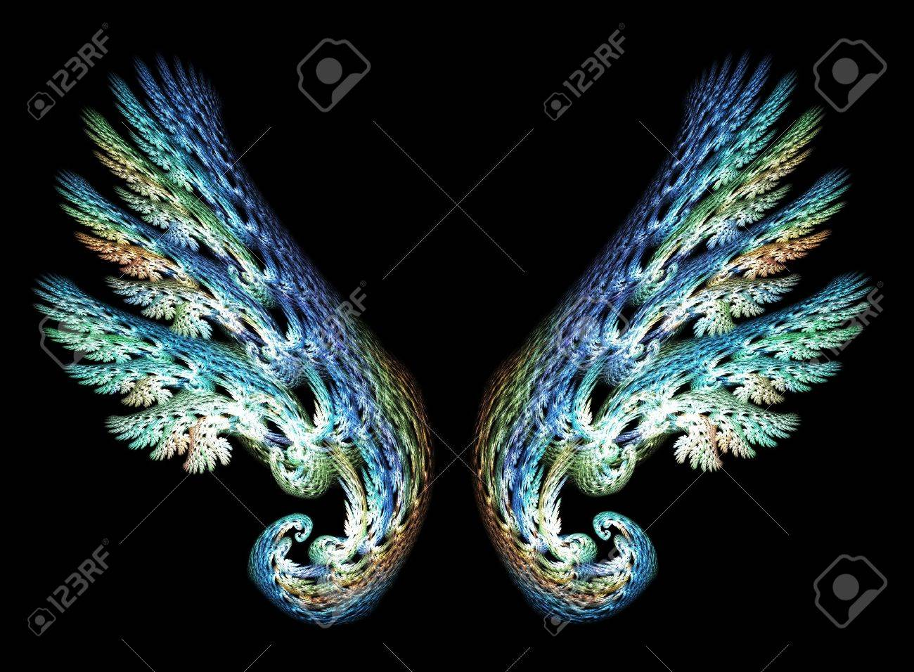 Two Angel Wings in blue and green tones over black background Stock Photo - 5192436
