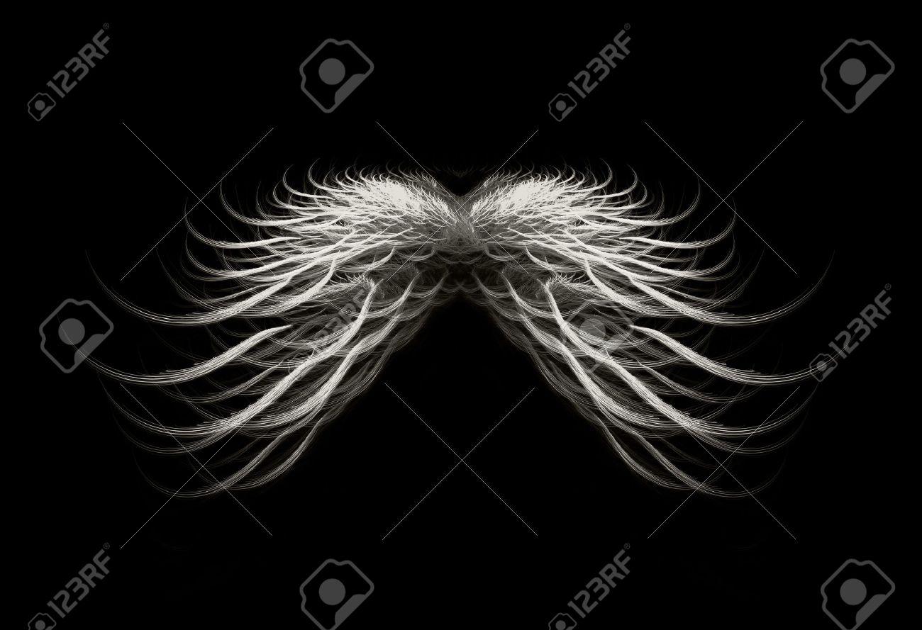 Black and white dark angel wings isolated over black background. Stock Photo - 5872824