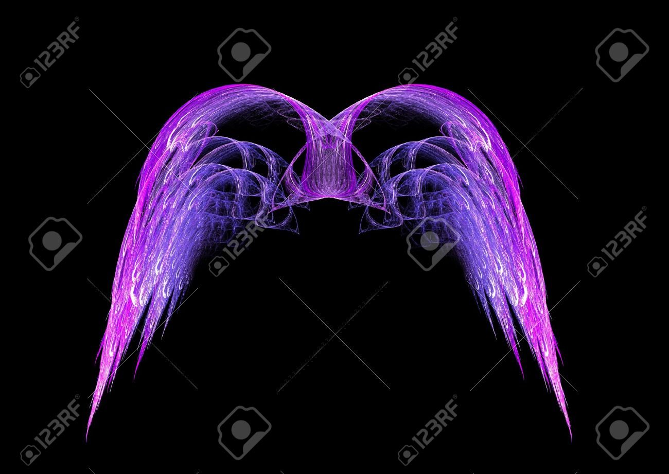 Pink and Purple Angel wings fractal emblem over black background. Stock Photo - 5904669