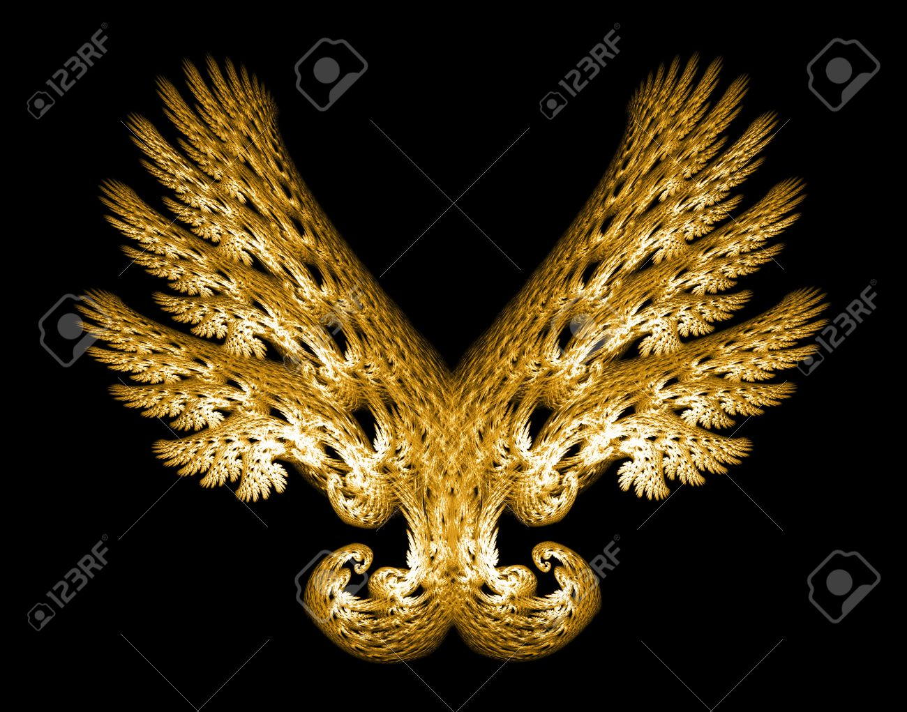 Golden Angel wings fractal emblem over black background. Stock Photo - 6031042