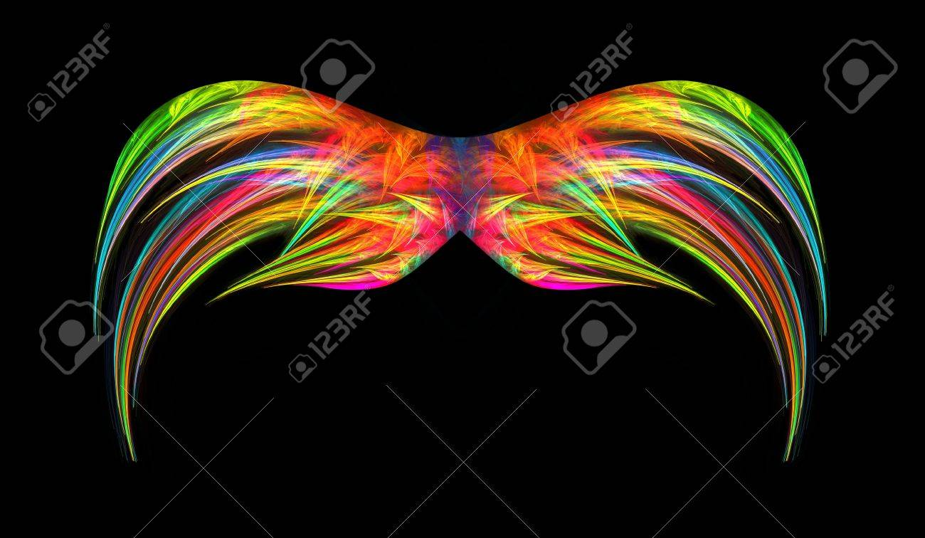 Vibrant multi colored abstact fractal wings isolated over black background. Stock Photo - 6031041
