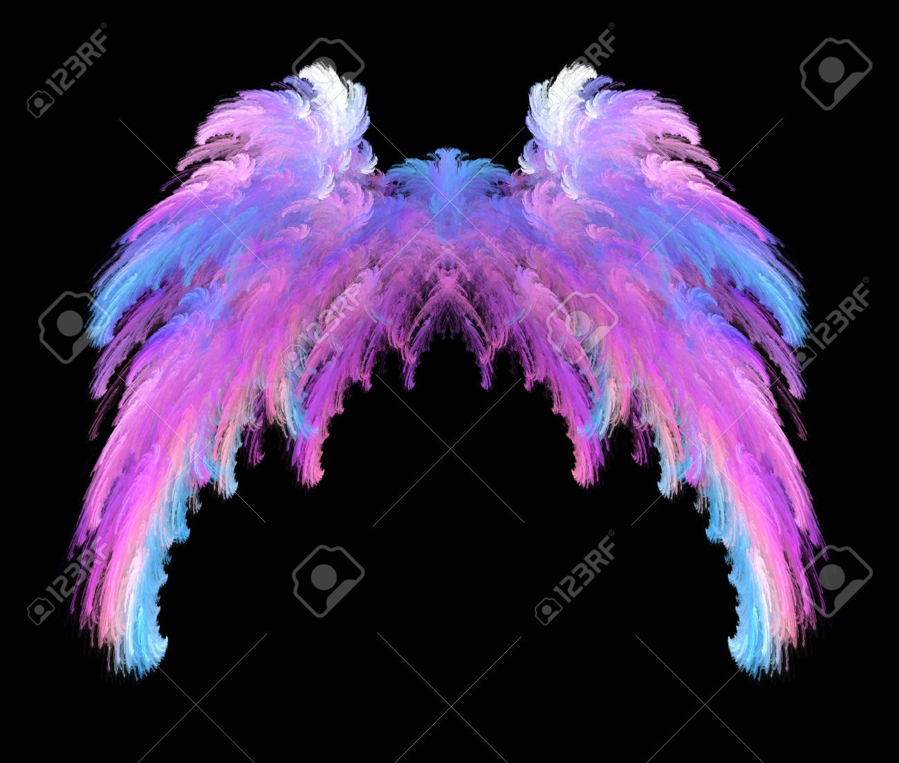 Pretty pink, blue and white feathery wings over black background. Stock Photo - 6828306